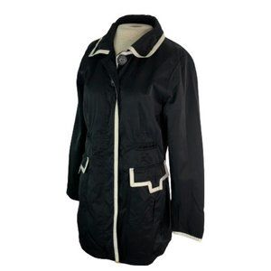 Ambition Womens Jacket Button Front Black L Large